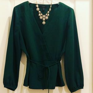 J. Crew Forest Green Crepe Peplum Waist Top